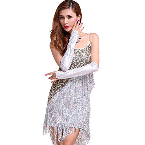 Qlan Lateinamerikanische Tänze Kleider Kostüme, Laties Pailletten Fransen Quaste Tango Ballsaal Salsa tanzkleid