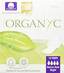 Corman U.S.A. Organyc Hypoallergenic 100% Organic Cotton Pads Night Wings, 10-Count Box