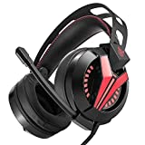 Ofliery Noise Cancelling 3.5mm Kopfhörer mit Mic Soft Memory Ohrenschützer für Laptop Mac Nintendo Schalter Spiele, Gaming Headset Surround Stereo Sound für PS4, PC, Xbox One (Color : Red)