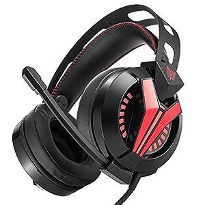 KARTELEI Gaming Headset Surround Stereo Sound für PS4, PC, Xbox One Noise Cancelling 3,5 mm Kopfhörer mit Mikrofon Soft Memory Ohrenschützer für Laptop Mac Nintendo Switch Spiele
