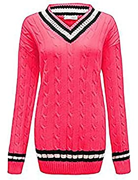 Zara Fashion-Women V Neck Cricket en maille tricot Plus de taille Jumper