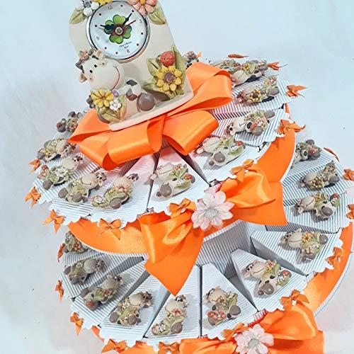 Torta bomboniera 32 + 3 fette mucca lola calamita nascita battesimo comunione cresima compleanno