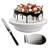 Kurtzy 3 stücke Tortenplatte Drehbar mit Kuchenheber und Winkelpalette - Kuchen Drehteller - Drehbar Tortenständer - Kuchenretter - Streich-Palette