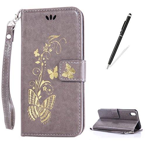 CaseHome Compatible with Case HTC Desire 816 PU-Leder Etui Hülle Folio Magnetischer Flip Stand-Funktion Geprägt Brieftasche Kratzfest-Grau