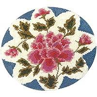 F Fityle Knüpfteppich für Kinder und Erwachsene zum Selber Knüpfen Teppich, 50x50cm, Verschiedene Muster Auswählbar - Rose Blume