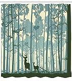 Abakuhaus Duschvorhang, 2 Hirsche im Tiefwald Tier in Nebligen Wald in Natur Unter in Cartoon Werent Grun Natur Druck, Blickdicht aus Stoff inkl. 12 Ringe für Das Badezimmer Waschbar, 175 X 200 cm