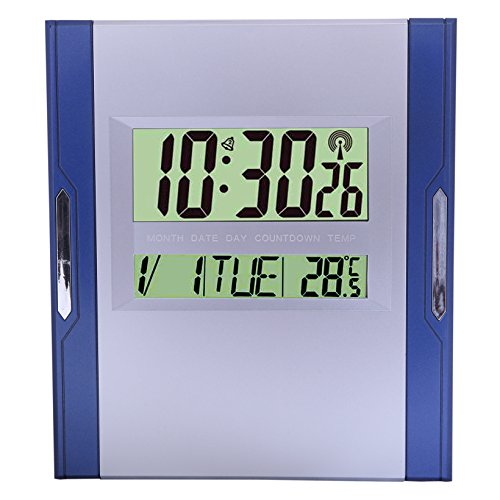 Kadio Plastic Digital Clock (26 cm x 23 cm x 1.5 cm, Blue and Silver)