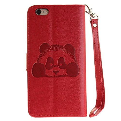 iPhone Case Cover Étui pour iPhone 6S, couleur unie 3D Cute Panda embossé PU Housse en cuir avec des fentes de carte Lanyand pour iPhone 6S ( Color : 1 , Size : IPhone 6 6S ) 8