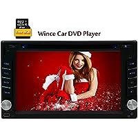 La vendita calda 2din Wince lettore DVD 6.0 con il GPS Nav audio stereo Bluetooth Macchina fotografica in lettore cruscotto con lettore CD FM autoradio libero 8GB mappa