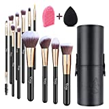 Qivange Makeup Brushes, Flat Foundation Blush Eyeliner Eyeshadow Brushes with Holder+Makeup Sponge & Brush Cleaner, Professional Makeup Brush Set, 12 pcs (Black with Rose Gold)
