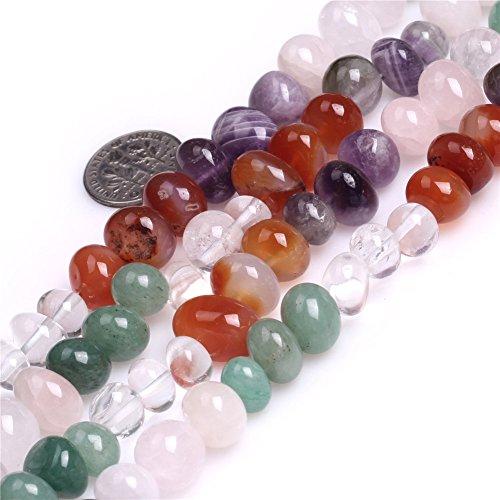 Shgbeads Naturel 11-- rondes 12mm Jaune Pierre précieuse de quartz rutile Courroie Perles pour fabrication de bijoux 38,1cm, 8x12mm Multicolor, 8x12mm