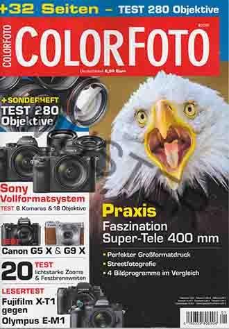 Color Foto Nr. 1 2016 - PRAXIS: Faszination Super-Tele 400 mm: Perfekter Großformatdruck, Streetfotografie, 4 Bildprogramme im Vergleich. + Sonderheft: Test 280 Objektive Sony Vollformatsystem: Test 6 Kameras und 18 Objektive - Test Canon G5 X & G9 X 20 TEST lichtstarke Zooms & Festbrennweiten LESERTEST: Fujifilm X-T1 gegen Olympus E-M1