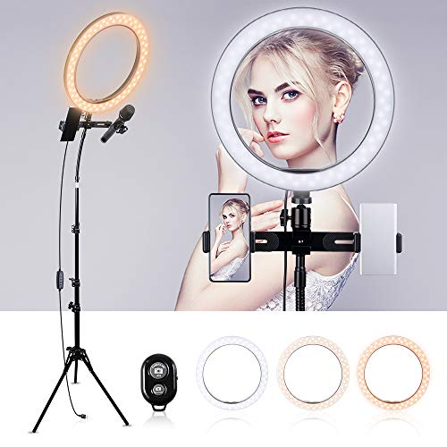 K&F Concept Ringlicht, 10 Zoll LED Ringleuchte Set, Dimmbare Selfie Licht Kamera Licht mit Bluetooth-Empfänger für YouTube, Fotografie und Make up