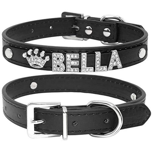 Yiqinyuan Strass Welpen Hundehalsbänder personalisierte kleine Hunde Chihuahua Kragen benutzerdefinierte Halskette Free Name Charms Pet Zubehör Black M (Kleine Safety Cones)