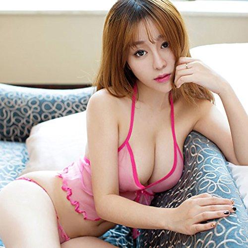SQDQNUR-Sexy chiffon trasparenti lingerie pigiami aperto soft filo pendente tracolla donne deep v-twin set Media ,codice,Rosa