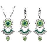 Lucia Costin Silver, Dark Green, Light Green Crystal Jewelry Set