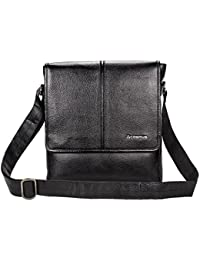 Genuine Leather Sling Bag For Men - Cosmus Colorado Black Leather Bag For IPad
