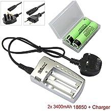 2x 3400mAh 3.7V 18650 para Panasonic NCR18650B Li-ion recargable Batería + cargador