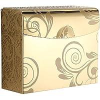 KHSKX Impermeabile in acciaio inossidabile di rotolo di carta igienica carta igienica vassoio della scatola di punzone libero wc bagno scatole di carta tissue ripiano di supporto,fiore d'Oro