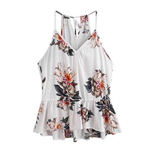 OverDose Trägershirts Flower Bestickte Strappy Cami Top Bluse tops Vest Weste Pulli (S, B-C-Weiß) (Rüschen Detail-top)