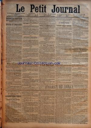 PETIT JOURNAL (LE) [No 9312] du 24/06/1888 - DERNIERE EDITION - SAMEDI 23 JUIN 1888 - MINISTRE ET COMMISSAIRES - ECHOS DE PARTOUT - MEDAILLE COMMEMORATIVE - LE DUC D'AUMALE - LE TRAITE FRANCO-ITALIEN - LE MANIFESTE DE L'ASSOCIATION NATIONALE REPUBLICAINE - NOUVELLES DE L'ETRANGER - LONDRES - BERNE - VARSOVIE - BERLIN - FEUILLETON DU 24 JUIN 1888 - LES DRAMES DE LA VIE 1 - LA COMTESSE PAULE - QUATRIEME PARTIE LE CHEMIN DES LARMES - IV- SUITE DOULEURS D'ETIENNE PAR EMILE RICHEBOURG par Collectif