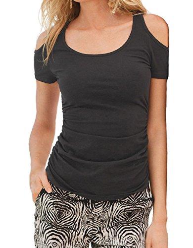 DoubleYI Damen Sexy Kurzarm T-Shirt schulterfrei Bluse Shirts Tops Schwarz