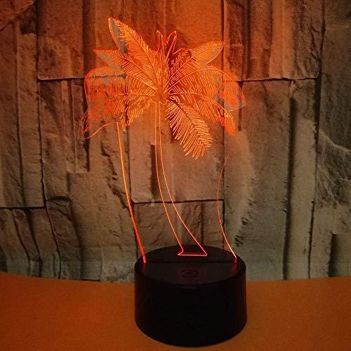 3D Illusion Lamp Nachtlicht Bunte Note Der Lampen-3D Des Kokosnuss-Baum-3D Führte Kleines Nachtlicht-Weihnachtsgeschenk Für Babyraumlichter@Only Touch Switch -