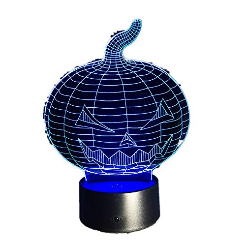 3D Stereo Vision Lampe Halloween Kürbis / 7 Farben ändern/Usb Schlafzimmer Nachttischlampe Nachtlicht/Kreative Schreibtischlampe3D