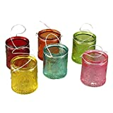 Teelichtglas LILLY - Teelichthalter mit Drahthenkel - mit Lilienmotiv (gelb)