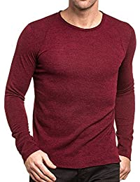 Celebry tees - Pull homme bordeau long col rond