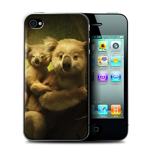 Officiel Elena Dudina Coque / Etui pour Apple iPhone 4/4S / Minou/Voir Design / Les Animaux Collection Koalas/Escalade d'Arbres