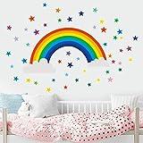 Stickers Muraux Enfants Salon Chambre Cuisine Arc En Ciel Etoiles Art De DéCo Repositionnables Autocollants Sticker Murals Chambre (Multicolore)