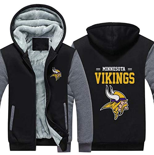 WZ NFL Männer Hoodie - Minnesota Vikings Verdickte Plus Velvet Fußball-Team-Uniform, Zipper Sweater Mit Kapuze Für Herbst Und Winter Outdoor Training,Schwarz,5XL