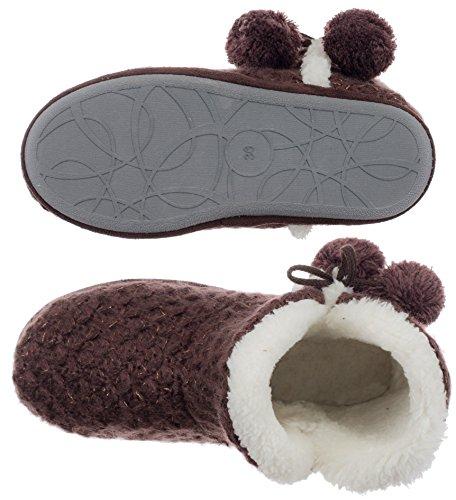 Pantofole Da Donna Con Ciabatta - Con Pompon E Suola Circolare - Diversi Colori E Taglie Marrone