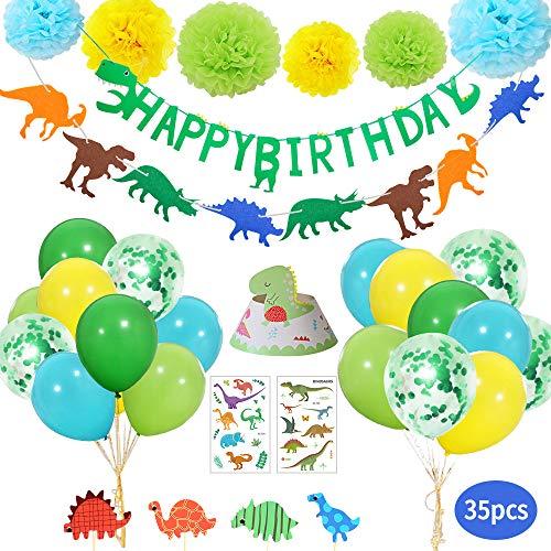 Yansion 35 stück Dinosaurier Geburtstag Party Dekoration für Kinder Party Vorräte,Dinosaurier Happy Birthday Banner Ballons Pom Poms Blumen Tattoo Aufkleber Gastgeschenke für Kinder