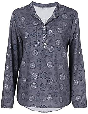 Camisas Mujer K-Youth 2018 Nuevo Otoño Blusas para Mujer Sexy Gasa Cuello en V Impresión Botón Tops Mujer Fiesta...
