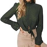 SEWORLD 2018 Damen Mode Sommer Herbst Frauen Chiffon Blumen Aufflackern Hülse Kurze Bogen Shirt Leopard Drucken Top Bluse Crop(B-Grün,EU-38/CN-S)