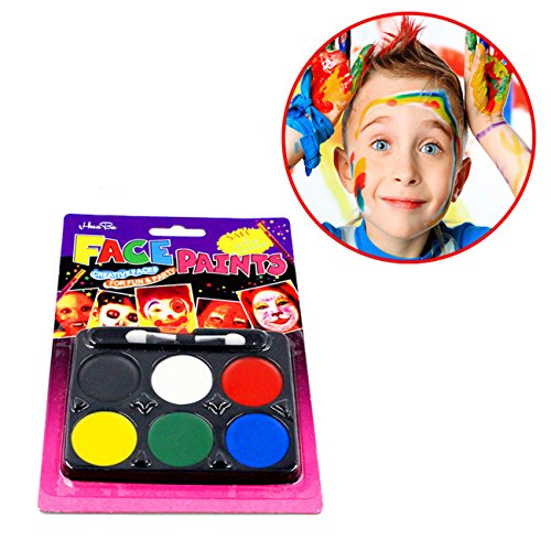 Malerei Halloween Körper Kostüme (6 Körperfarbe Set: Schminkpalette Körpermalfarbe Make Up Schminke Palette Gesichtsfarbe Bodypainting Halloween Karneval Kostüm Ungiftig)