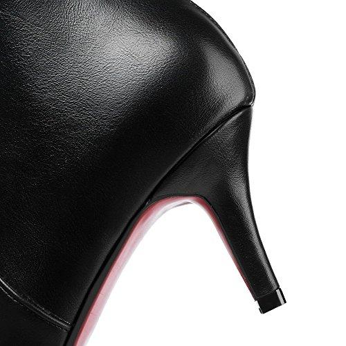 VogueZone009 Femme Couleur Unie à Talon Correct Pointu Pu Cuir Zip Bottes Noir