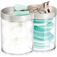 mDesign boite de rangement plastique – utilisable comme boite à coton et distributeur coton tige – empilable et avec…