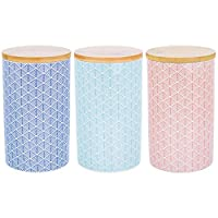 Nicola Spring Porcelain Tea, Coffee and Sugar Canisters - Set of 3 Geometric Designs