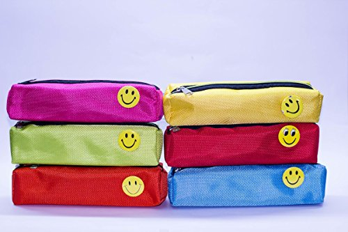 Shopkooky Bright Colour Smiley Pen Pencil Pouch Case for Gifting Purpose Return Gifts for Kids Birthday in Bulk, Small (Multicolour) - Pack of 12