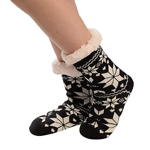 TEBAISE 1 Paar Kuschelsocken, Hausschuhsocken mit Rutschfester Sohle Warme Damen Socken Wintersocken Hüttensocken mit Anti Rutsch Noppen und Teddyfell