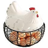 Schwarz Metall Mesh Draht Ei Aufbewahrungskorb mit Weiß Keramik Farm Chicken Top und Griffe