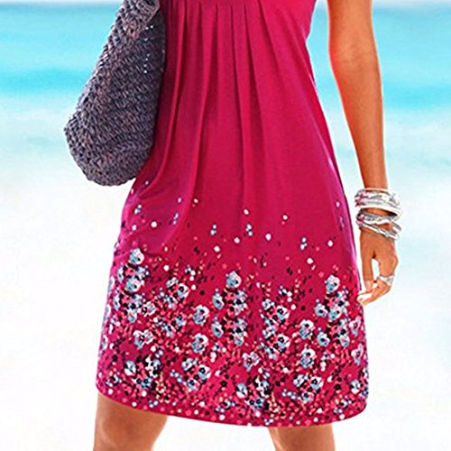 Robe de Plage Femme Imprimée Sans Manches Col Rond Lâche Tunique Robe Eté Rouge