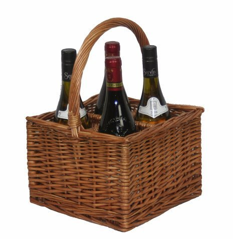 Double Steamed Wicker 4 Bottle Basket Carrier