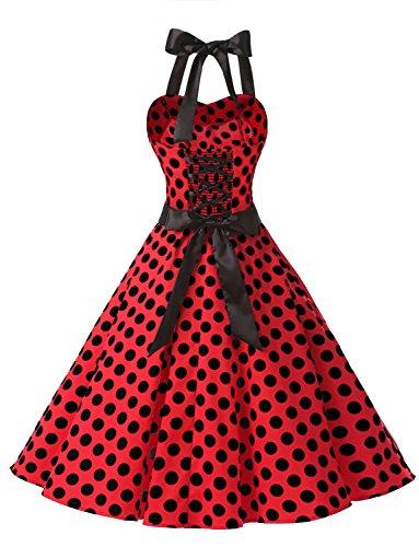Dressystar Vintage Tupfen Retro Cocktail Abschlussball Kleider 50er 60er Rockabilly Neckholder Rot Schwarz Dot M - 4