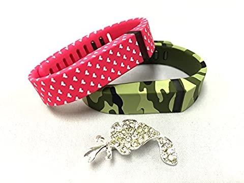 Set Large L 1 Green Camouflage Camo Army Military 1 Pink with White Hearts Colors Replacement Bands With Clasps for Fitbit FLEX Only /No tracker/ Wireless Activity Bracelet Sport Wristband Fit Bit Flex Bracelet Armband + Nice Crystals Feather Brooch