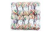 Gründl 3456-08 Happy Kiddy, Packung enthält 10 x 100 G Knäuel Garn, Polyacryl, BonBon Color, 39 x 39 x 7 cm