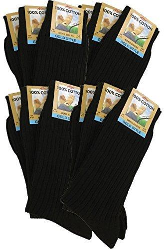 Herren 100% Pure Gerippte Baumwollsocken ermöglichen your füße atmen und absorbierung - Schwarz, UK 6/11 eur 39/45 - 100% Baumwolle Kleid Socken
